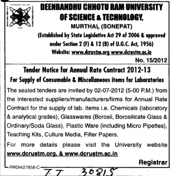 Supply of Consumable and Miscellaneous items for Laboratories (Deenbandhu Chhotu Ram University of Science and Technology)