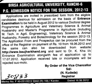 PG Entrance Examination 2012 (Birsa Agricultural University)