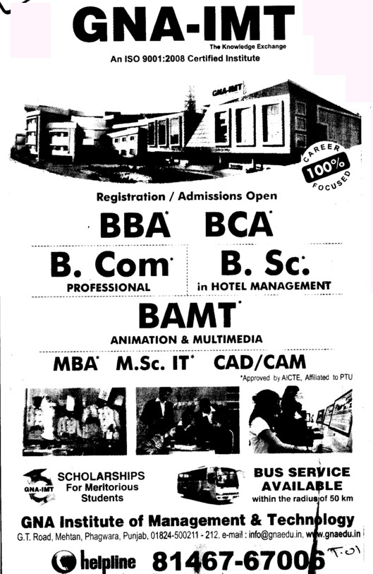 BBA, BCA, BSc and BAMT etc (GNA Institute of Management and Technology)