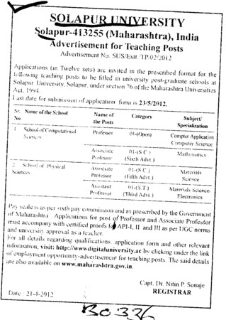 Prof, Asstt Prof, Associate Professor etc (Solapur University)
