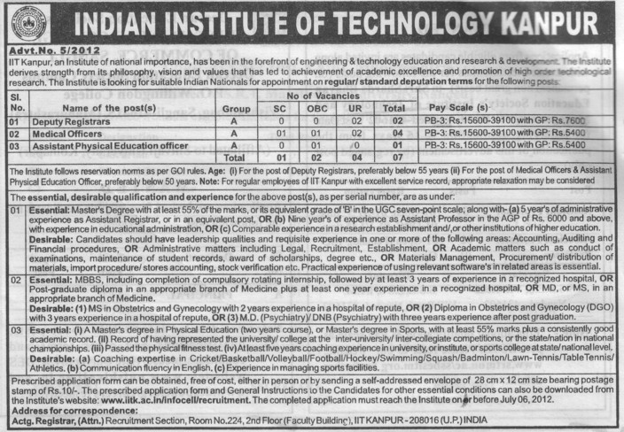 Medical Officer and Deputy Registrar etc (Indian Institute of Technology (IITK))