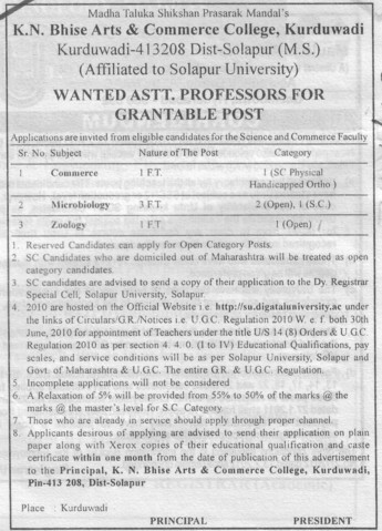 Asstt Professor in various streams (KN Bhise Arts and Commerce College)