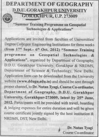 Summer Training Programme 2012 (Deen Dayal Upadhyaya (DDU) Gorakhpur University)