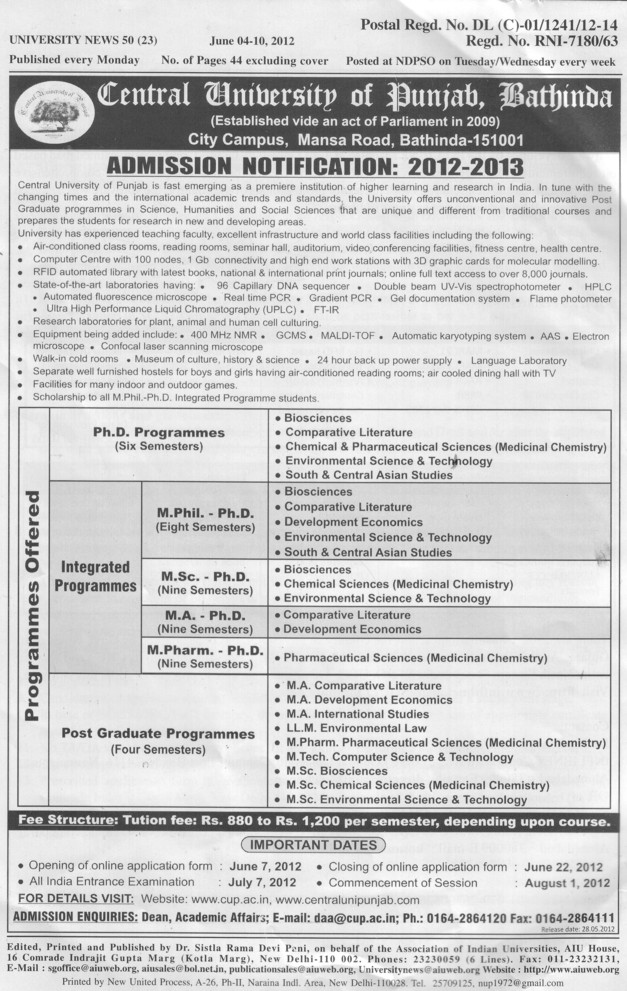 PhD, M Phil and MA etc (Central University of Punjab)