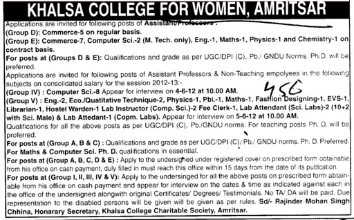 Asstt Professor in various streams (Khalsa College for Women)