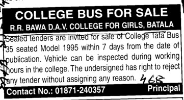 Tata Bus 35 seated Model (RR Bawa DAV College for Girls)