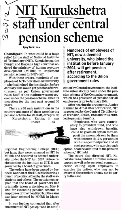 NIT K staff under central pension scheme (National Institute of Technology (NIT))