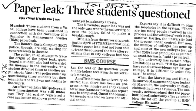 Paper Leak, Three students questioned (BNN College)