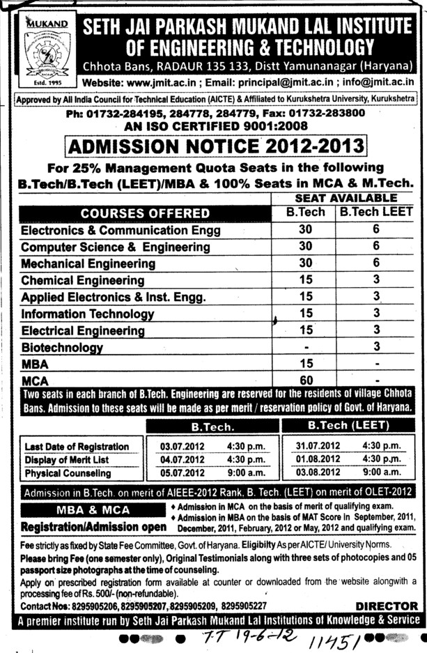 BTech, MBA and MCA (Seth Jai Parkash Mukand Lal Institute of Engineering and Technology (JMIT))