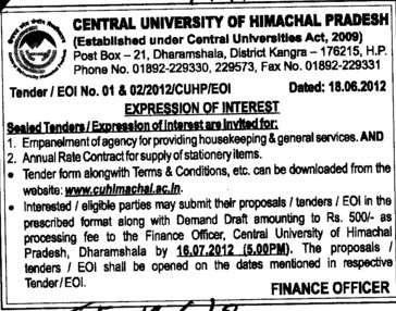 Supply of Stationery Items etc (Central University of Himachal Pradesh)