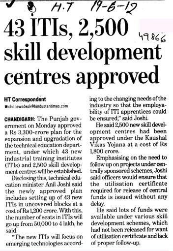 43 ITIs, 2500 skill development centres approved (Directorate of Technical Education and Industrial Training Punjab)