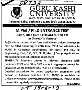 M Phil and PhD Entrance Test (Guru Kashi University)