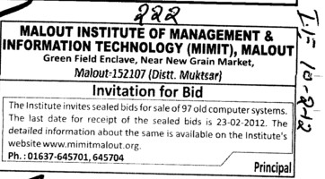 Sale of 97 Computer system (Malout Institute of Management and Information Technology MIMIT)