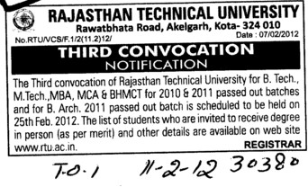 3rd Annual Convocation 2012 (Rajasthan Technical University (RTU))