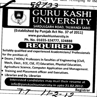 Deans, HODs and Professor etc (Guru Kashi University)
