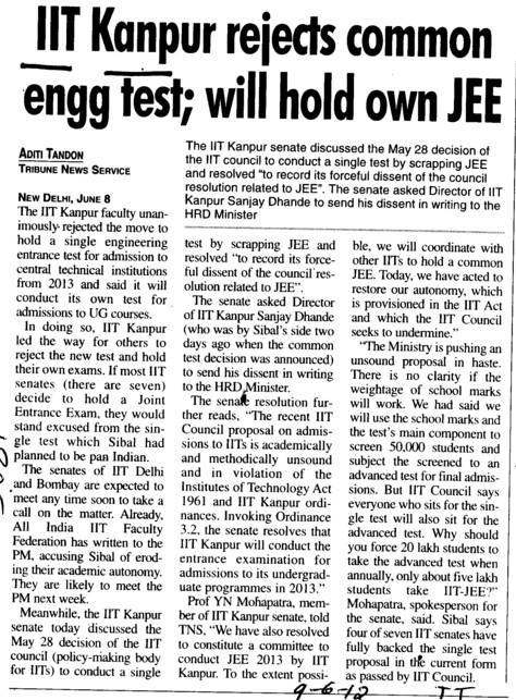 IIT k rejects common engg test, will hold own JEE (Indian Institute of Technology (IITK))