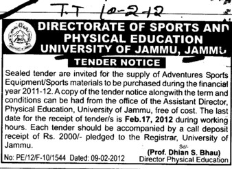 Supply of Adventures Sports Equipments (Jammu University)