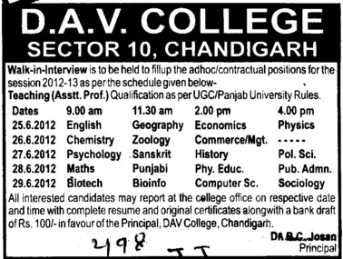 Teaching Asstt Professor (DAV College Sector 10)