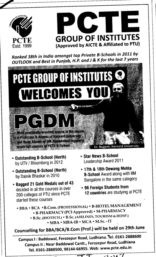 PGDM 2012 (PCTE Group of Insitutes Baddowal)