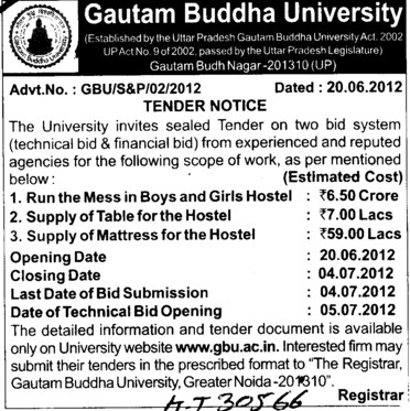 Supply of Mattress for the Hostel etc (Gautam Buddha University (GBU))
