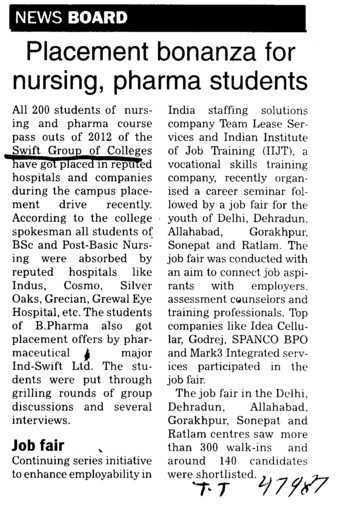 Placement bonanza for nursing, pharma students (Swift Group of College (SGOC))