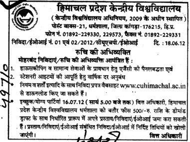 Stationary Items and Housekeeping (Central University of Himachal Pradesh)