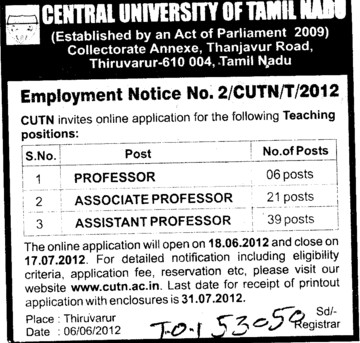 Prof, Asstt Prof and Associate Professor (Central University of Tamil Nadu (CUTN))