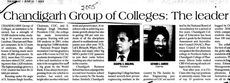 Message of Chairman Satnam S Sandhu etc (Chandigarh Group of Colleges)