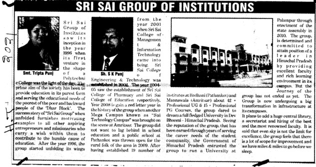 Message of Sh S K Punj etc (Sri Sai Group of Instituties (SSGI))