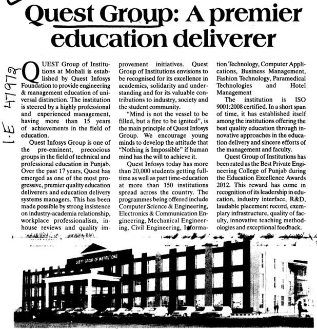 Quest group, a premier education deliverer (Quest Group of Institutions)