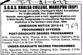 UG and PG Courses (SGGS Khalsa College)