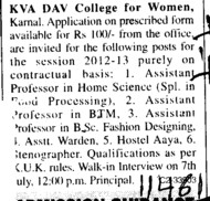 Asstt Professor on Contract basis (MCM DAV College for Women)