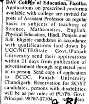 Asstt Professor on regular basis (DAV College of Education)