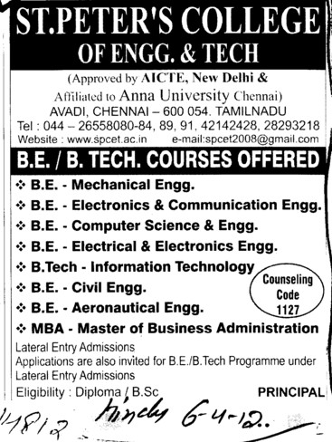 BE and BTech Courses (St Peters College of Engineering and Technology)