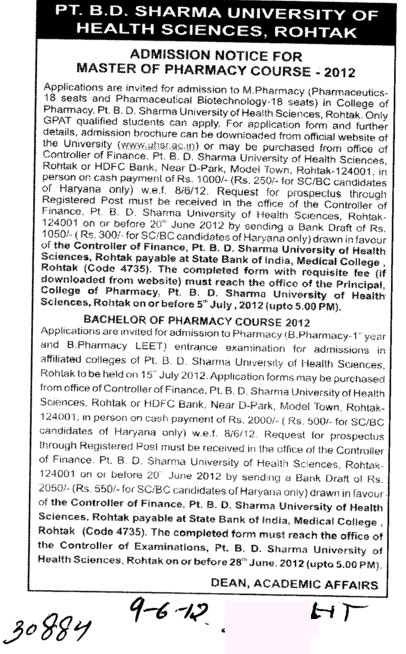 Master of Pharmacy Course 2012 (Pt BD Sharma University of Health Sciences (BDSUHS))