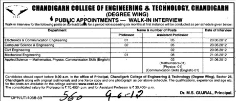 Prof, Asstt Prof and Associate Professor etc (Chandigarh College of Engineering and Technology (CCET))