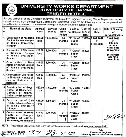 Const of Academic Blocks etc (Jammu University)