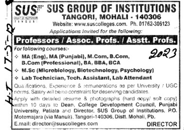 Prof, Asstt Prof and Associate Professor etc  (SUS Group of Institutions)