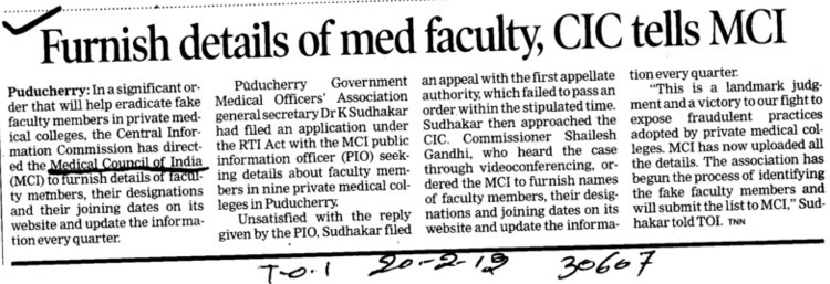 Furnish details of med faculty, CIC tells MCI (Medical Council of India (MCI))
