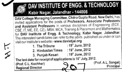 Prof, Asstt Prof and Associate Professor etc (DAV Institute of Engineering and Technology DAVIET)