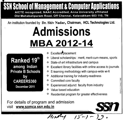 MBA Course 2012 (SSN School of Management and Computer Applications (SSN SoMCA))