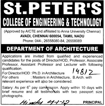 Professor, Associate Professor and Asstt Professor etc (St Peters College of Engineering and Technology)