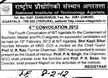 4th Annual Convocation 2012 (National Institute of Technology NIT)