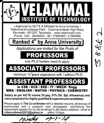 Prof, Asstt Prof and Associate Professor (Velammal Institute of Technology)