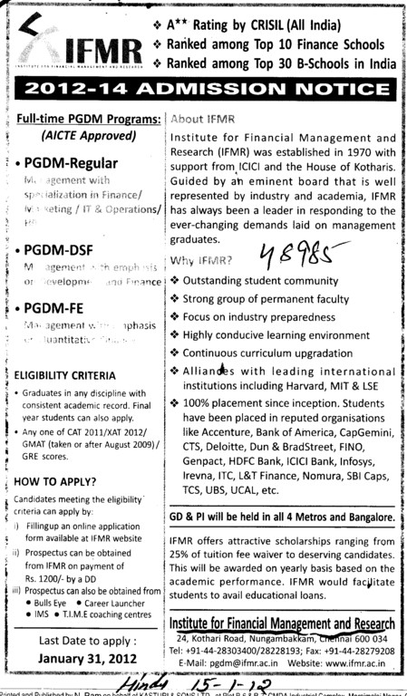 PGDM etc (Institute for Financial Management and Research (IFMR))