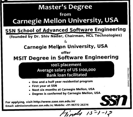 100 percent Placement Campus (SSN School of Advanced Software Engineering (SSN SASE))