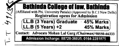 Three years LLB Course (Bathinda College of Law)