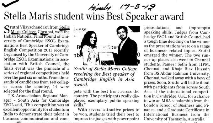Stella Maris student wins Best speaker award (Stella Maris College)
