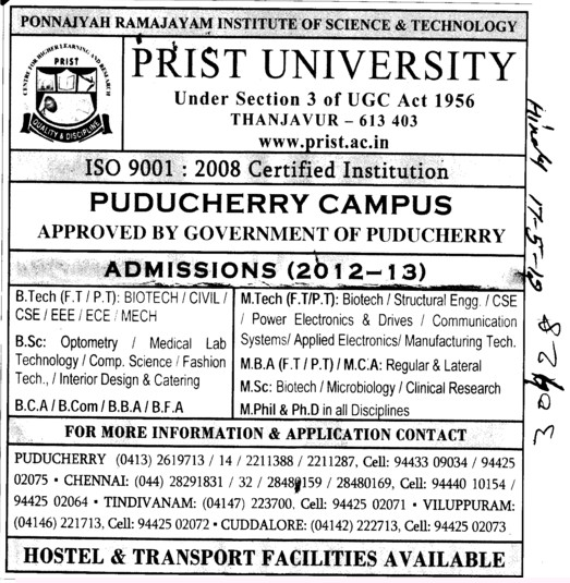 BTech, MTech and MBA Courses etc (PRIST University)
