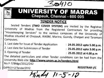 Providing Housekeeping services (University of Madras)